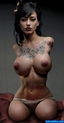 Yakuza tattoo asian babe with amazing big natural boobs with brown boobs ready to suck..