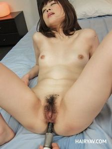 Hairy Japanese Girl Maki Sarada Toy Fucked and Fingered.